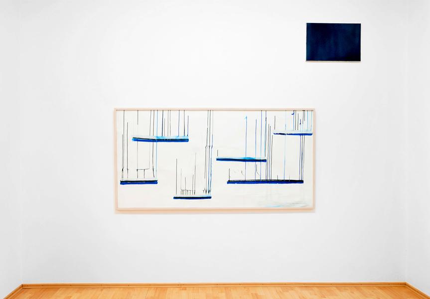 LA NUIT 2014 Genève - 57 x 38 x 2 cm Gießton, Glasur + EmbracingWorldGondola 2016 - 97,5 x 202 cm  Gouache auf Fabriano Papier