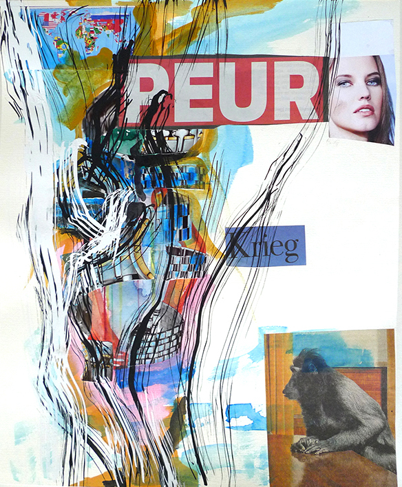 PEUR, 2016 - 29 x 35 cm - Collage, mixed media, paper