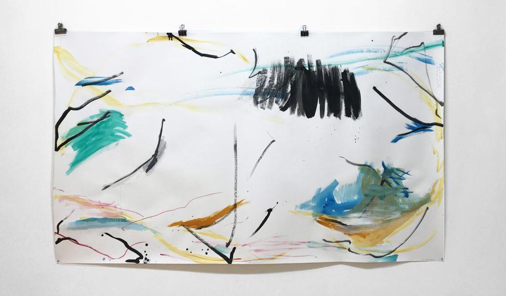 Unpolitical Landscape Of Lines 2018 - Aquarell, Gouache auf Fabriano Papier -151 x 263 cm